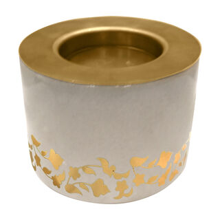 Marble and Metal Round Candle Holder Majestic Gold