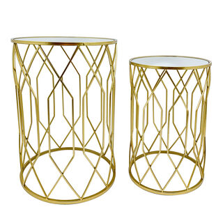 2 Pieces Metal Round Side Table Mirror Top Gold 50X70 Cm