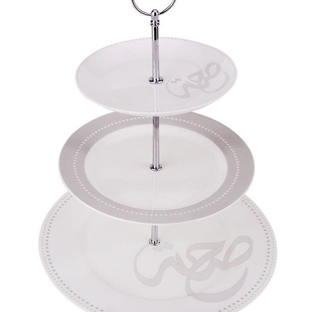 3 Tier Porcelain Dessert Serving Hroof image number 0