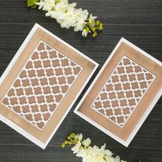 طقم صواني تقديم خشبية قطعتين لون أبيض بزخرفة مغربية