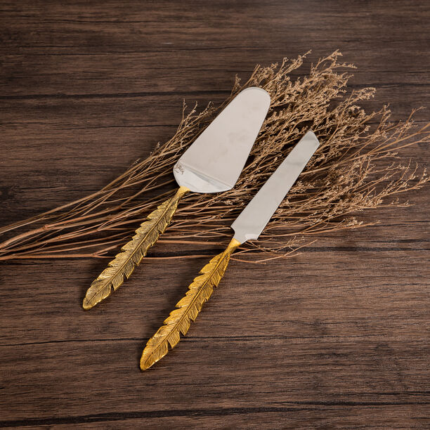 La Mesa 2 Pieces Cutlery Leaf Golden Handle Silver image number 0