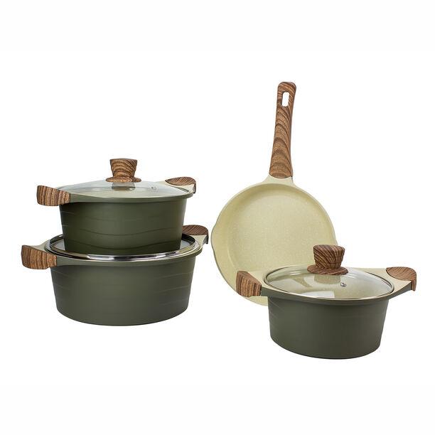 Alberto London 7 Pieces Ceramic Cookware Set Olive  image number 1
