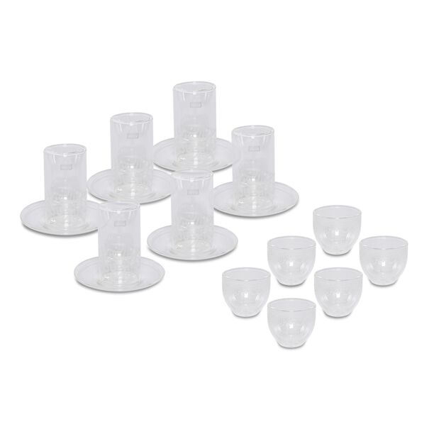 Tea & Coffee Set 18 Pieces Double Wall Calligraphy White image number 0