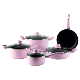 Alberto Non Stick Cookware Set 9 Pieces Pink Color