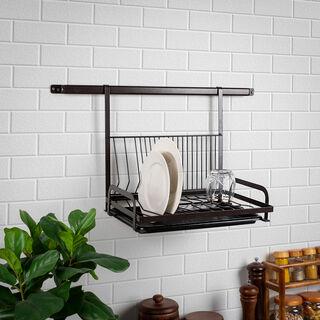 Alberto Coffee Coated Over The Shelf Dish Rack