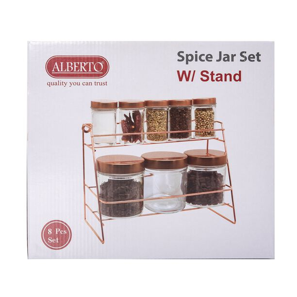 Alberto Glass Spice Jars Set 8 Pieces With Copper Lid & Stand image number 2