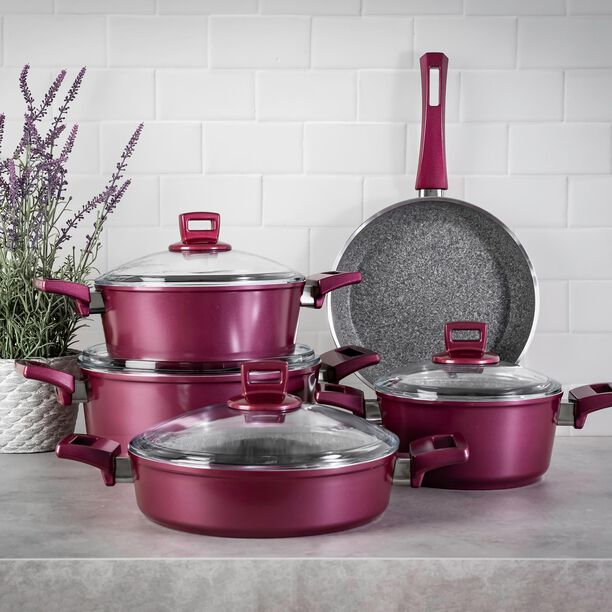 Alberto Granite Cookware Set 9 Pieces With Glass Lid Purple image number 4