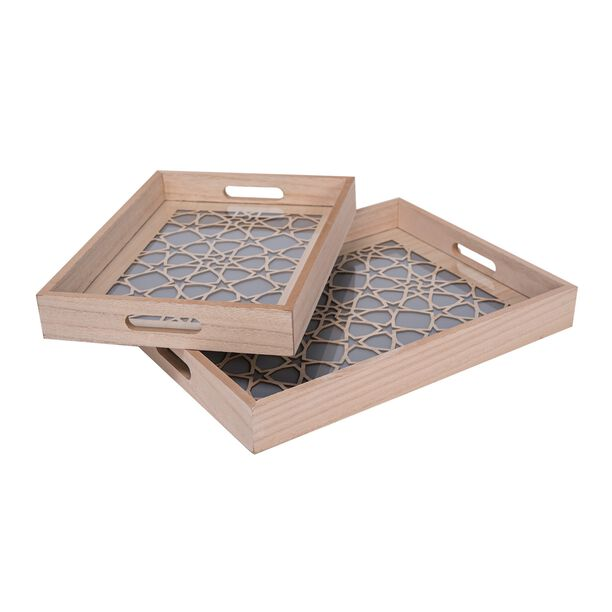 Wooden Rectangle Serving Tray 2 Pieces Set image number 1