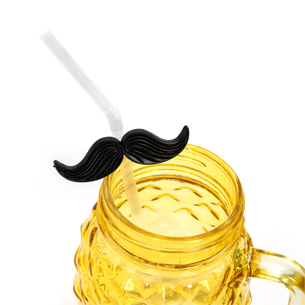 4 Pieces Plastic Straws With Black Mustache image number 2