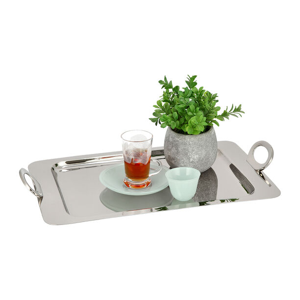 Steel With Wood Tray Rectangular Silver image number 2
