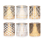6 Pcs Glass Tumbler Set With Gold Decal Clear image number 0