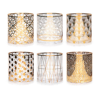 6 Pcs Glass Tumbler Set With Gold Decal Clear