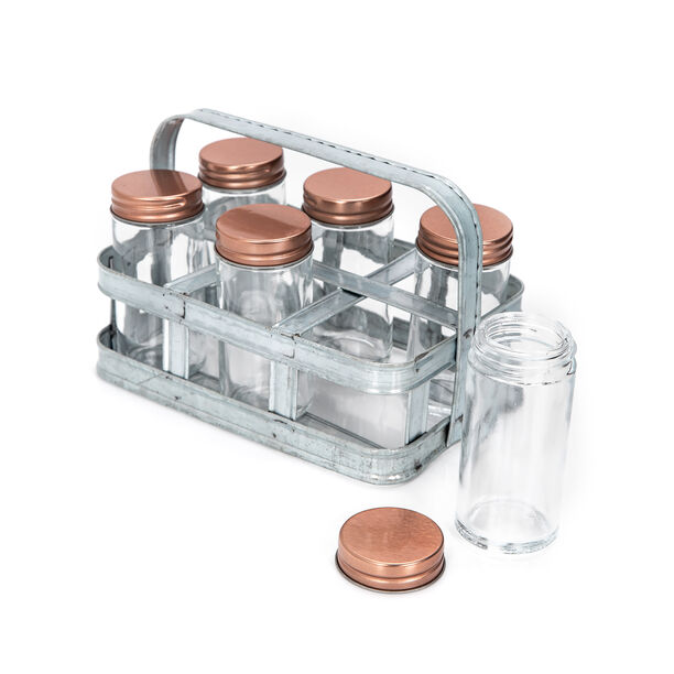 Alberto 6 Pieces Glass Mini Spice Jars With Copper Clip Lid And Metal Tray image number 2
