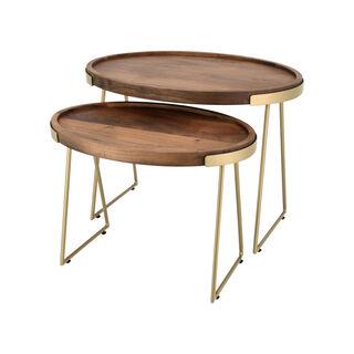 طقم طاولات جانبية خشبية قطعتين بيضاوية