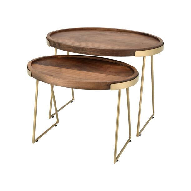طقم طاولات جانبية خشبية قطعتين بيضاوية image number 1