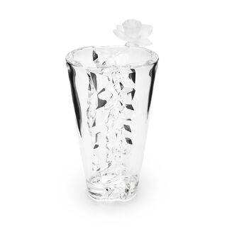 Decorative Vase Glass With Crystal Flower Clear 16.6X14.3X28 Cm