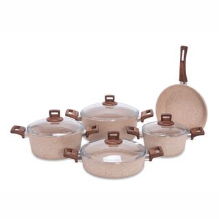 Alberto Granite 9Pcs Cookware Brownstone Color