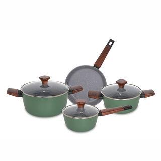 Alberto 7Pieces Non Stick Matt Green Cookware Set