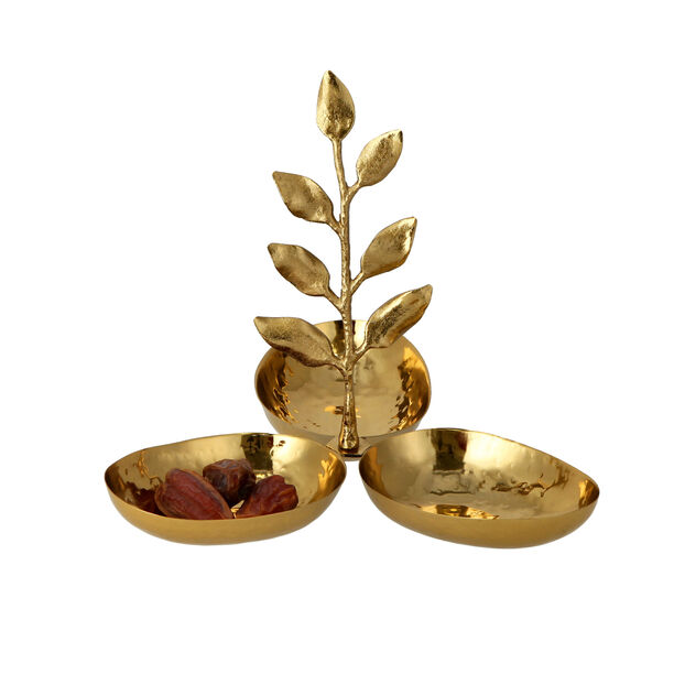 ARABESUE TRIPPLE OVAL BOWL CONDIMENT SET WITH EVERGREEN LEAF SMALL9*9*8.5 Cm image number 1