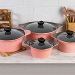 Alberto 8Pcs Cast Alumnium Cookware Set Of Casseroles W/ Glass Lid Pink image number 4