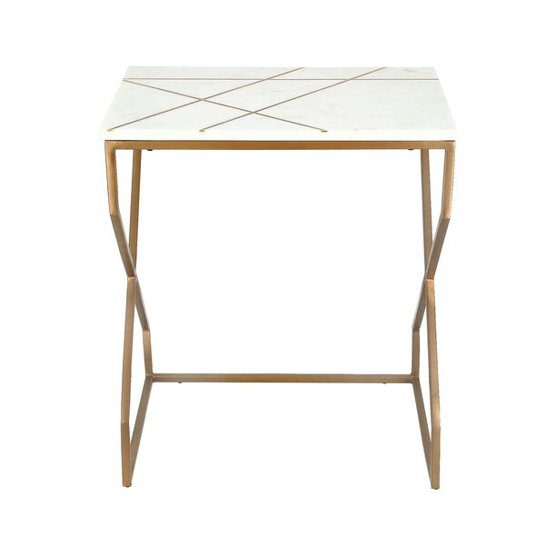 Nested Table Set Of 2 Rect. Marble And Metal White image number 2