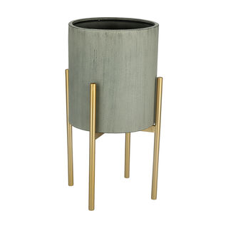 Metal Planter With Gold Legs Grey Dia
