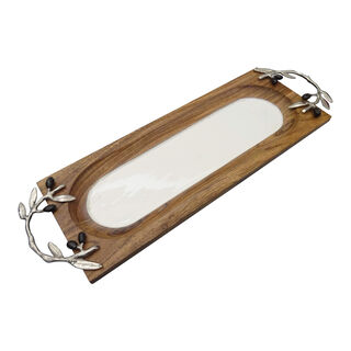 Wooden Rectangle Tray With Olive Handle Small 40Cm