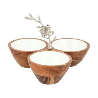 La Mesa 3 Parts Wood Circular Nuts Bowl Metal Floral Silver
