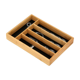 Alberto Bamboo Utensils Drawer Organizer Black Color