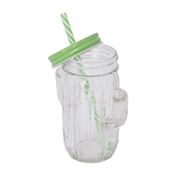 Glass Jar 450Ml With Straw Cactus Shape Clear Body image number 1