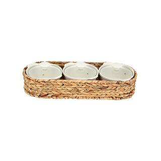 Porcelain 3Pcs Round Casseroles With Lid And Rattan Basket