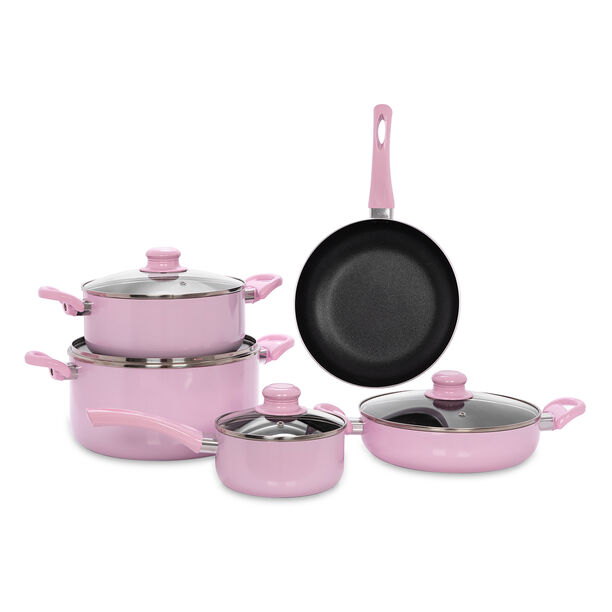 Alberto Non Stick Cookware Set 9 Pieces Pink Color image number 1