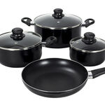 Cookware Non Stick Set 7 Pieces With Glass Lid Black image number 1