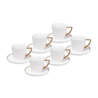 La Mesa 12 Pieces Tea Cup And Saucer Gold Color