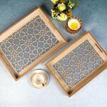 Wooden Rectangle Serving Tray 2 Pieces Set image number 3