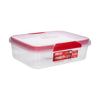Decor Plastic Food Saver Rectangle Shape V- 4 L Red Lid ( Match-Ups Clips)