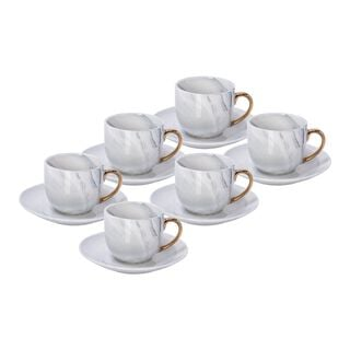 La Mesa Grey Marble/Gold Coffee Set 12 Pieces