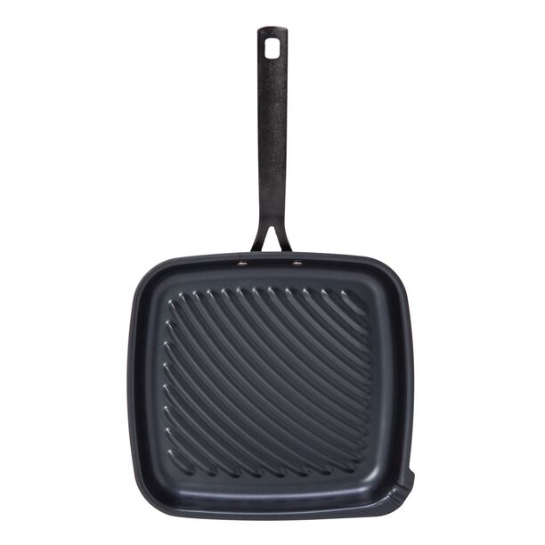 STEEL GRILL PAN with DIE CAST HANDLE BLUE image number 1