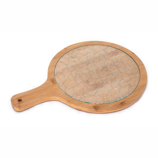 Alberto Round Bamboo Serving Tray With Glass Surface
