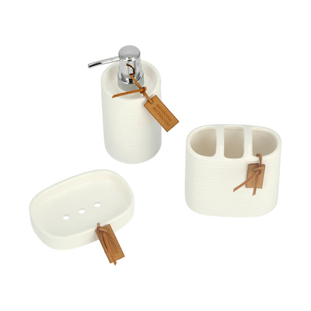 Stoneware Bath Set 3 pieces Ivory image number 3