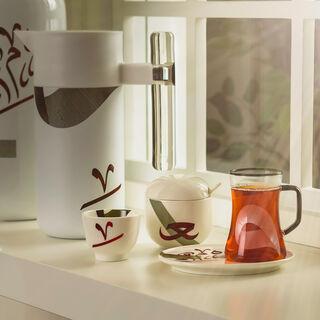 18 Pcs Arabic Tea And Coffee Set Porcelain Arabgraph