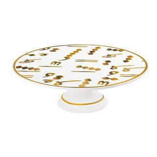 La Mesa Porcelain Cake Stand Tashkeel Gold