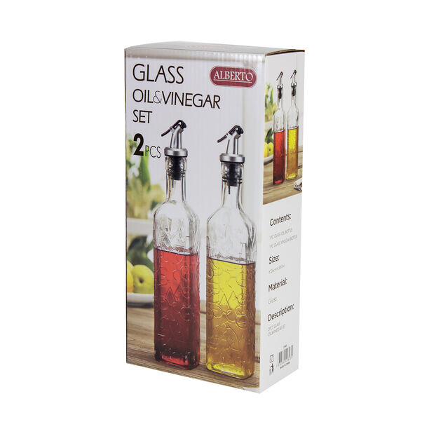2 Pieces Glass Oil And Vinegar Set image number 1