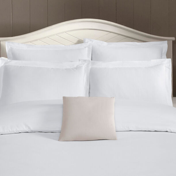 Duvet Cover Set 3 Pieces Cotton King Size Embroidery White image number 1