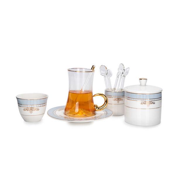 28Pc Arabic Tea And Coffee set Porcelain Royal Blue image number 3