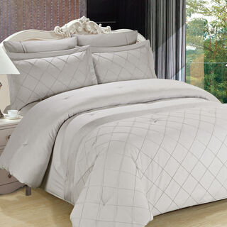 Cottage 3 Pieces Cotton Comforter Set Emproidered Embleisshed Pillow Shams Twin Size 160×220 Cm