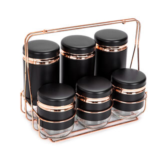 Alberto Spice Rack With 6 Glass Jars With Stand Black & Rose Gold Color