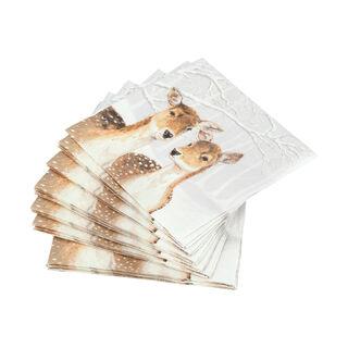 Ambiente Serving PaperNapkinsFallow Deer In Winter Design Grey Color