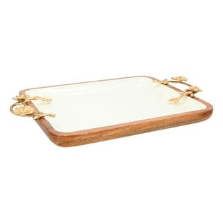 La Mesa Rectangle Serving Dish With Handle Large Out Enamel Gold 33X28Cm