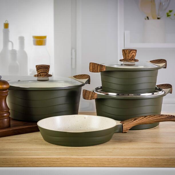 Alberto London 7 Pieces Ceramic Cookware Set Olive  image number 3